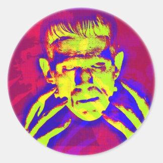 Arte pop Frankenstein Pegatina Redonda
