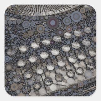 Arte pop fresco del diseño moderno de la máquina pegatina cuadrada