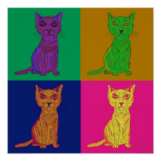 Arte pop gruñón y confuso del gato posters
