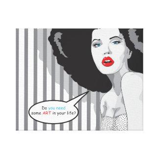 arte pop Hermoso blanco y negro del chica Impresiones En Lona