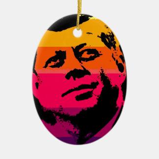 Arte pop Jack JFK John F. Kennedy Adorno Navideño Ovalado De Cerámica