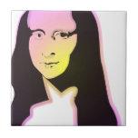 Arte pop Lisa Azulejo Cuadrado Pequeño
