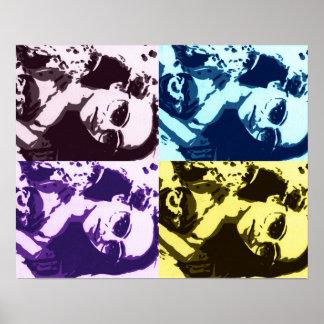 Arte pop multicolor del jade póster