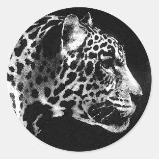 Arte pop negro y blanco de Jaguar Pegatina Redonda