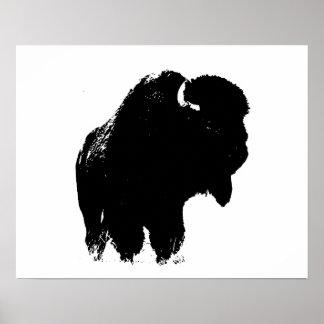 Arte pop negro y blanco de la silueta del búfalo póster