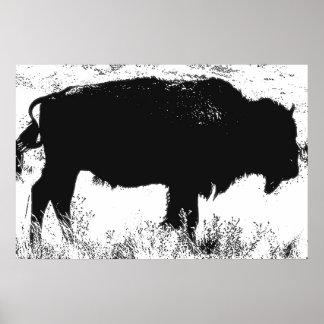 Arte pop negro y blanco del búfalo del bisonte póster