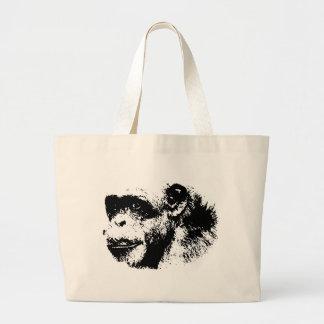 Arte pop negro y blanco del chimpancé bolsa tela grande