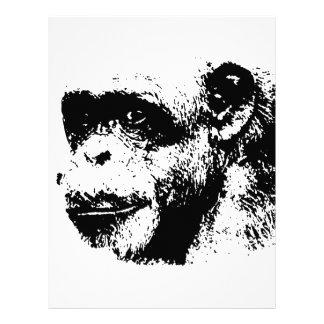 Arte pop negro y blanco del chimpancé membrete