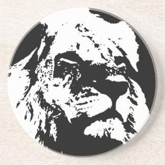 Arte pop negro y blanco del león posavasos cerveza