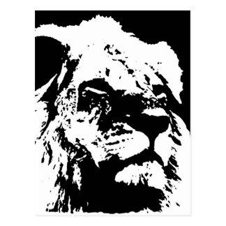 Arte pop negro y blanco del león tarjetas postales