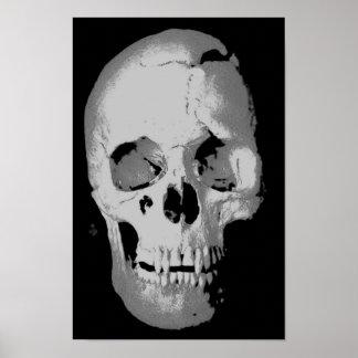 Arte pop negro y blanco del poster del cráneo -, a