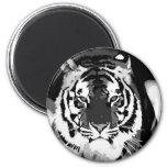 Arte pop negro y blanco del tigre iman para frigorífico