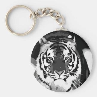 Arte pop negro y blanco del tigre llavero redondo tipo pin