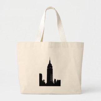 Arte pop negro y blanco Nueva York Bolsa Tela Grande