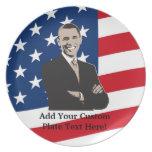 Arte pop patriótico sonriente de Barack Obama Plato Para Fiesta