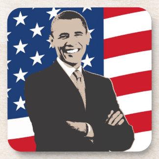 Arte pop patriótico sonriente de Barack Obama Posavasos De Bebida