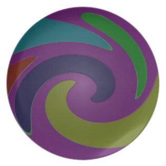 arte pop púrpura colorido platos para fiestas