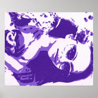 Arte pop púrpura del jade póster