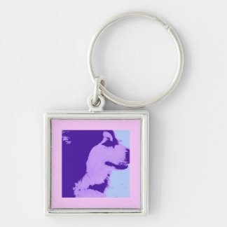 Arte pop púrpura del Malamute Llavero Cuadrado Plateado