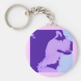 Arte pop púrpura del Malamute Llavero Redondo Tipo Pin