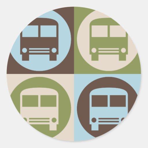 Arte pop que conduce un autobús pegatina redonda