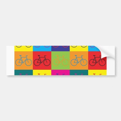 Arte pop que monta en bicicleta pegatina de parachoque