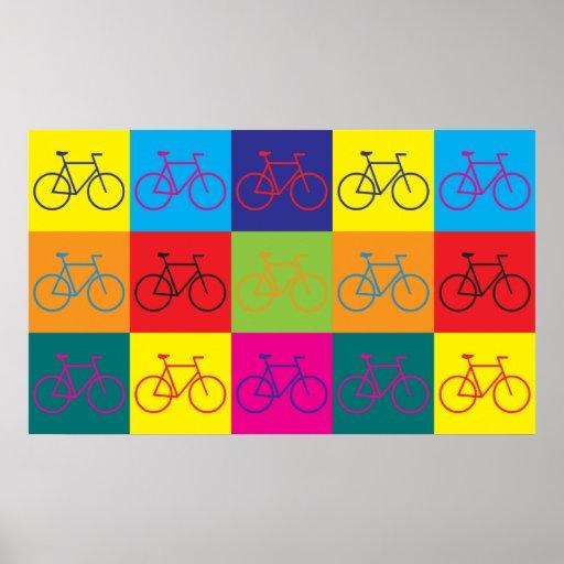 Arte pop que monta en bicicleta impresiones