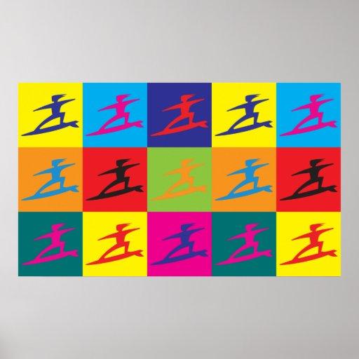 Arte pop que practica surf póster