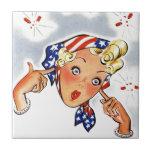 Arte pop retro de la señora del petardo del tejas