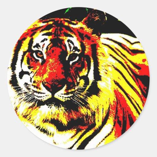 Arte pop retro del tigre pegatina redonda