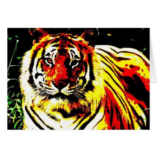 Arte pop retro del tigre tarjeton