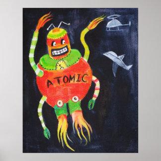 Arte pop retro del vintage del robot póster