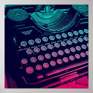 Arte pop retro fresco de la máquina de escribir impresiones