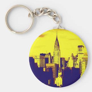 Arte pop retro New York City cómico Llavero Redondo Tipo Pin