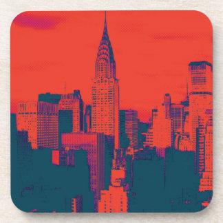 Arte pop retro rojo punteado del estilo New York Posavasos De Bebidas