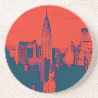Arte pop retro rojo punteado del estilo New York Posavasos Personalizados