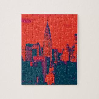 Arte pop retro rojo punteado del estilo New York Puzzle