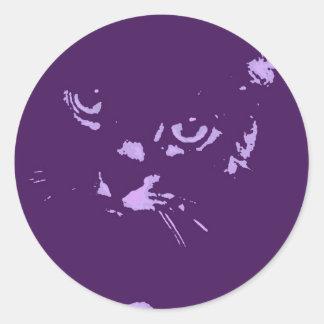 Arte pop ruso del gato azul pegatinas redondas