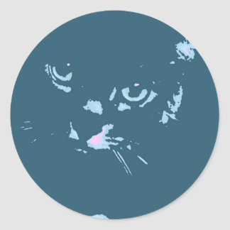 Arte pop ruso del gato azul etiqueta redonda