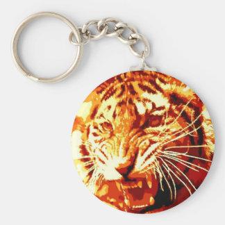 Arte pop salvaje del tigre llavero redondo tipo pin