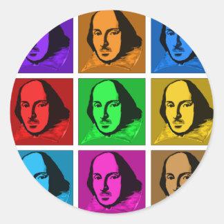 Arte pop Shakespeare Pegatina Redonda