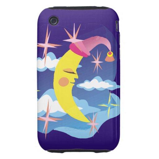 Arte pop soñoliento de la luna y de las estrellas funda resistente para iPhone 3