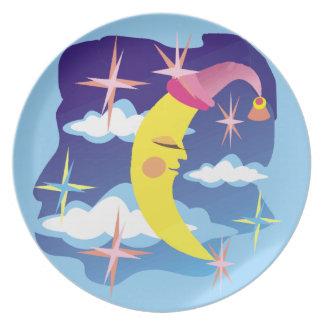 Arte pop soñoliento del cielo y de las estrellas d plato de comida