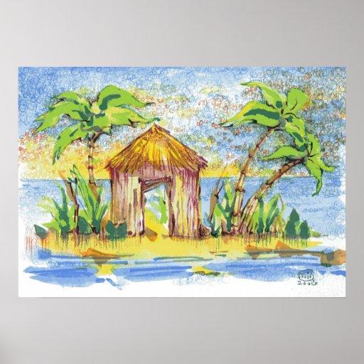 Arte pop tropical de la choza impresiones