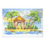 Arte pop tropical de la choza invitación 12,7 x 17,8 cm