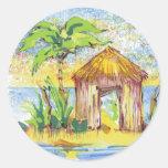 Arte pop tropical de la choza pegatina redonda