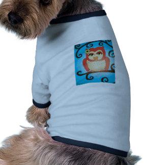 Arte popular aviar del búho caprichoso camisetas de perro