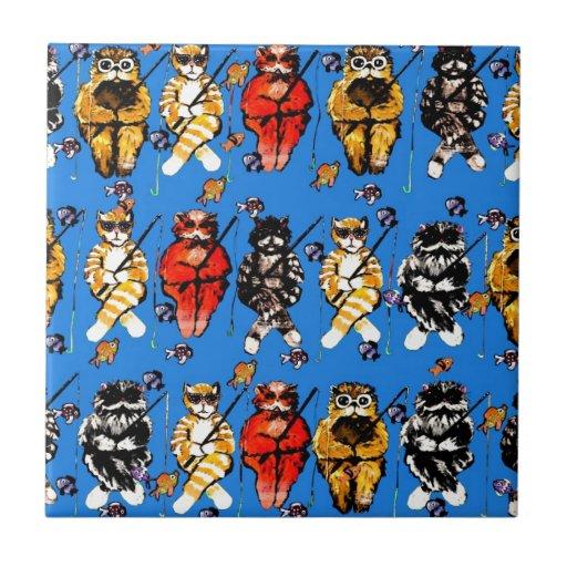 Arte popular caprichoso colorido de la diversión d azulejo cuadrado pequeño
