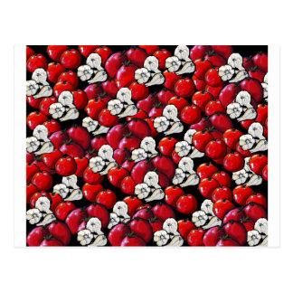 Arte popular colorido del ajo de los tomates del postales