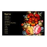 Arte popular colorido floral plantillas de tarjeta de negocio